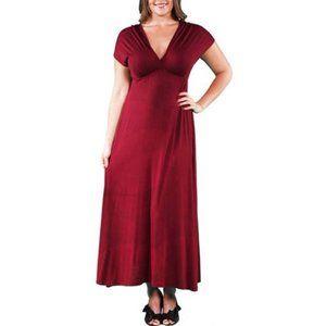 24/7 Comfort Apparel Plus Faux Wrap Maxi Dress NWT